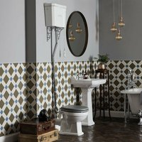 Bayswater Fitzroy Bathroom Suite High Level Toilet and Basin 595mm - 2TH