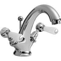 Lever Dome Mono Basin Mixer Tap with Waste - White/Chrome - Bayswater