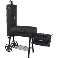 BBQ Charcoal Smoker with Bottom Shelf Black Heavy XXL - Black