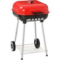 Barbecue à charbon BBQ grill sur pied avec couvercle et roulettes dim. 47L x 45l x 70H cm acier émaillé rouge