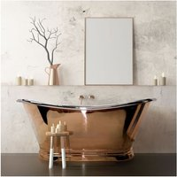 BC Designs Roll Top 1700mm Copper/Nickel Freestanding Boat Bath