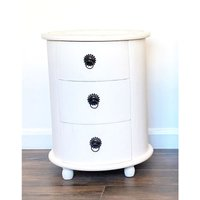 Beautifully Carved Solid Sheesham Wood Pillar Chest Bedside Cabinet Unit Table[White,3 Draw]