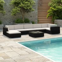 Beckles 9 Seater Rattan Corner Sofa Set by Dakota Fields - Black