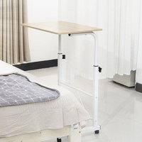 Bed and Sofa Table On Wheels Folding Laptop Stand Mobile Side Table White - AUGIENB