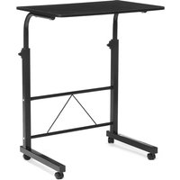 Bed and Sofa Table On Casters Folding Laptop Stand Mobile Side Table Black - AUGIENB