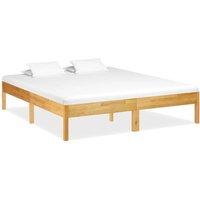 Bed Frame Solid Oak Wood 180x200 cm - Brown - Vidaxl