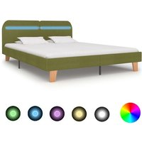 Bed Frame with LED Green Fabric 180x200 cm 6FT Super King - Vidaxl