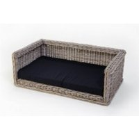 bed pillow for dogs orthopedic dog Outdoor Dog sofa Wicker Dog Sofa 115 x 80 cm + Polyester cushion black - MERCATOXL