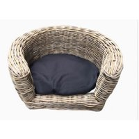 bed pillow for dogs orthopedic dog Outdoor Round dog sofa 68 x 57 x 33 cm + cushion light BLACK - MERCATOXL