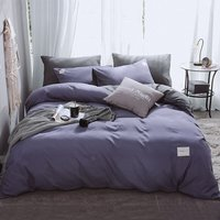 Asupermall - 4Pcs/Set Duvet Cover and Bed Sheet and 2Pcs Pillowcase Bedding Sets Bedclothes Home Bedroom Supplies,model:Purple and Grey Size 2