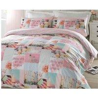 Pretty Pastels Patchwork Style Single Duvet Quilt Bedding Bed Set Pink Girls Reversible - #bedding