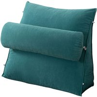 Augienb - Bedrest Pillows with Neck Roll Pillow 45*45*20cm blue Wedge Back Pillow Seat Cushion Bed Floor or Sofa