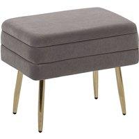 Glam Storage Bench Footstool Velvet Upholstery Golden Legs Grey Odessa