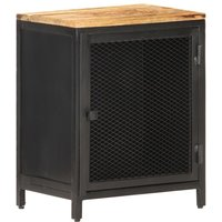 Bedside Cabinet 40x30x53 cm Solid Rough Mango Wood - Black - Vidaxl