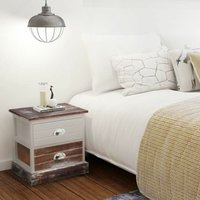 Bedside Cabinet Brown and White