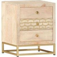 Zqyrlar - Bedside Cabinet Gold 40x30x50 cm Solid Mango Wood - Gold