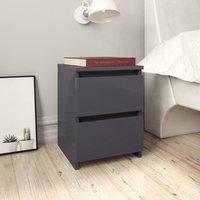 Zqyrlar - Bedside Cabinet High Gloss Grey 30x30x40 cm Chipboard - Grey
