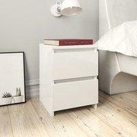 Zqyrlar - Bedside Cabinet High Gloss White 30x30x40 cm Chipboard - White