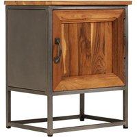Bedside Cabinet Recycled Teak and Steel 40x30x50 cm - Brown - Vidaxl