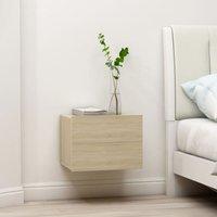 Bedside Cabinet Sonoma Oak 40x30x30 cm Chipboard - Beige