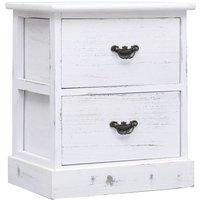 Zqyrlar - Bedside Cabinet White 38x28x45 cm Paulownia Wood - White
