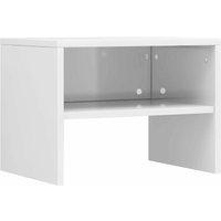 Bedside Cabinet 40x30x30 cm Chipboard High Gloss White - White - Vidaxl