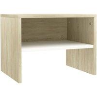 Bedside Cabinet 40x30x30 cm Chipboard White and Sonoma Oak - White - Vidaxl