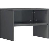 Bedside Cabinet 40x30x30 cm Chipboard High Gloss Grey - Grey - Vidaxl