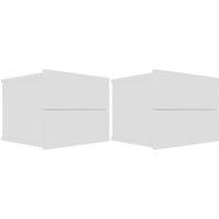Bedside Cabinets 40x30x30 cm Chipboard 2 pcs White - White - Vidaxl