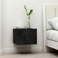 vidaXL Bedside Cabinet 40x30x30 cm Chipboard High Gloss Black - Black