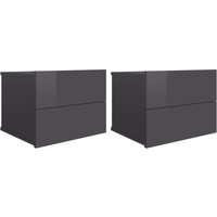 Bedside Cabinets 40x30x30 cm Chipboard 2 pcs High Gloss Grey - Grey - Vidaxl
