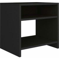 vidaXL Bedside Cabinet 40x30x40 cm Chipboard Black - Black