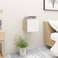 Betterlifegb - Bedside Cabinet White and Sonoma Oak 30.5x30x30 cm Chipboard22910-Serial number