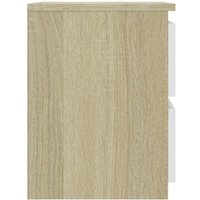 Bedside Cabinet White and Sonoma Oak 30x30x40 cm Chipboard