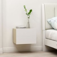 Zqyrlar - Bedside Cabinet White and Sonoma Oak 40x30x30 cm Chipboard - Beige