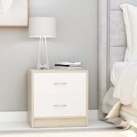 Betterlifegb - Bedside Cabinet White and Sonoma Oak 40x30x40 cm Chipboard35921-Serial number