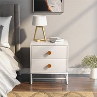 Bedside Cabinet with 2 Drawers, MDF Wooden and Metal Frame, Side Table with Wood Handles for Home Office Living Room Bedroom, Coffee Table, Storage Unit