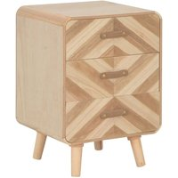 Bedside Cabinet with 3 Drawers 40x35x56.5 cm Solid Wood - Beige - Vidaxl