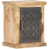Zqyrlar - Bedside Cabinet with Door 40x30x50 cm Solid Mango Wood - Black