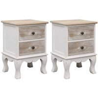 Zqyrlar - Bedside Cabinets 2 pcs 35x30x50 cm Paulownia Wood - White