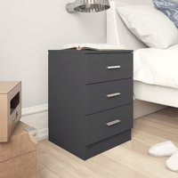 Bedside Cabinet 38x35x56 cm Chipboard Grey - Grey - Vidaxl