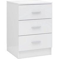 Bedside Cabinet 38x35x56 cm Chipboard High Gloss White - White - Vidaxl