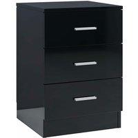 Bedside Cabinet 38x35x56 cm Chipboard High Gloss Black - Black - Vidaxl