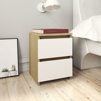 Bedside Cabinets 2 pcs White and Sonoma Oak 30x30x40 cm Chipboard