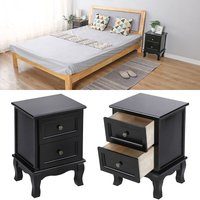 Bedside Table, Set of 2, Nightstand, with 2 Drawers, Pine Wood Legs, Storage Space, Black - OOBEST