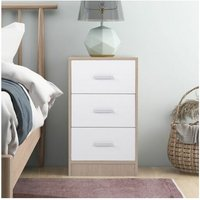 Bedside Table Storage Cabinet Chest of Drawers, 3 Drawers With Metal Handles and Runners, Unique Fixed Backplane White and Oak Bedroom Furniture