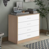 Bedside Table Storage Cabinet Chest of Drawers, 4 Drawers With Metal Handles and Runners, Unique Fixed Backplane White and Oak Bedroom Furniture