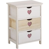 Bedside Table White with Light Wood Decorative Cutaway Hearts 3 Drawers Lorisa