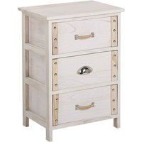 Bedside Table White with Light Wood Eclectic Odd Elements 3 Drawers Lobis