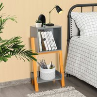 Costway - Bedside Table Wooden Nightstand End Table Z-shaped Bookcase Storage Shelf Unit